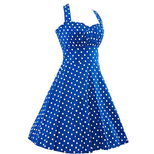 Dissa M1136 femme Rockabilly Robe de Soiré cocktail Robe de Bal Retro Bleu