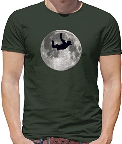 Sky Diving Moon - Herren T-Shirt - Olivgrün - L