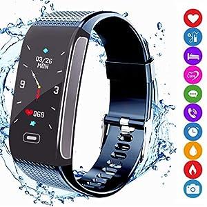 Fitness Armband Tracker Sportuhr Aktivitätstracker Schrittzähler mit Farbanzeige Pulsmesser Monitor Wasserdichte IP67 SMS SNS Anruf Erinnern Kompatibel mit Android IOS für Männer Frauen Kinder