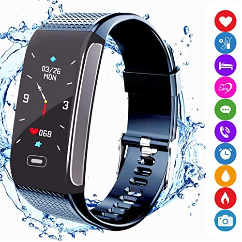 amazqi Fitness Tracker HR, Smart Bracelet Activity Tracker con Pantalla en Color Presión Arterial Heart Rate Sleep Monitor IP67 Waterproof para Android iPhone Adultos Niños (Navy)