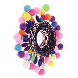 FITYLE 1 Yard Bunte Pomponborte Bommelborte Pomponband Pompons-Borte Dekoband mit Quaste Pompoms zum Nähen Basteln dekorieren - Farbe 6, 45mm