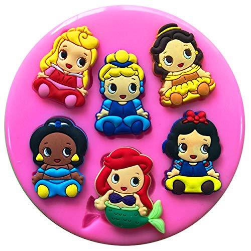 ney Prinzessin Babies Jasmin Ariel Aurora Schneewittchen Belle Cinderella Silikonform für Kuchendekorationen Kuchen Cupcake Toppers Zuckerguss Werkzeug ()