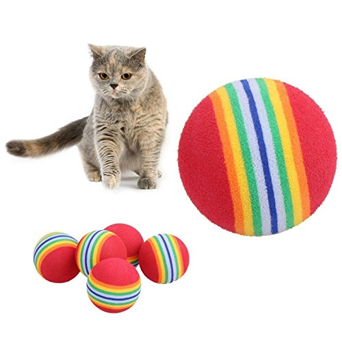 Longhui - 5 Pelotas de Espuma Suave para Mascotas, Perros, Gatos, arcoíris, Juguetes, Mascotas, Pelotas de Masticar