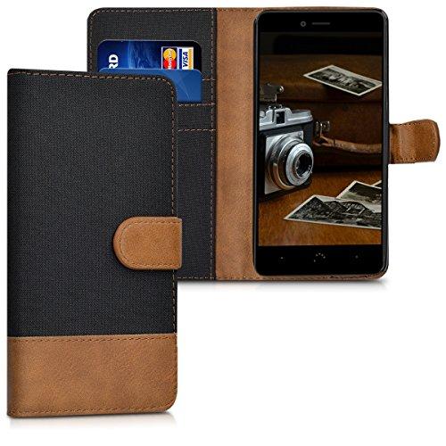 kwmobile bq Aquaris U Plus Hülle - Kunstleder Wallet Case für bq Aquaris U Plus mit Kartenfächern und Stand