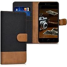 kwmobile Funda para bq Aquaris U Plus - Funda flip Wallet Case de tela con cuero sintético - Cover con tapa con tarjetero y soporte negro marrón
