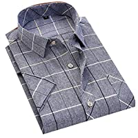 Fulok Mens Classic Short Sleeve Plaid No-iron Button Down Shirts XL Gray