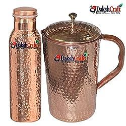 DakshCraft Copper Joint Free Hammered Bottle & Pure Copper Hammered Jug