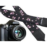 Baby Pink Roses Kamera Gurt. Blume Kameragurt. Polka Dot Kameragurt. Schwarz und rosa DSLR/SLR Kamera Gurt. Robust, leichtes und gut gepolstert Kamera Strap. Code 00117
