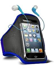 Fone-Case HTC One M7 verstellbaren Sport Fitness Jogging Arm Band Hülle & 3,5 mm In-Ear-Ohrhörer Basis Kopfhörer (Blue)
