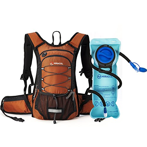 Miracol Hydration Backpack with 2L Water Bladder - Thermal Insulation Pack Keeps Liquid Cool up to 4 Hours – Multiple Storage Compartment – Bladder with Insulated Flow Tube - Dark Orange
