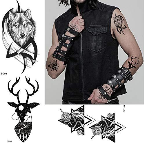 yyyDL Tough Guy Tattoo Cool Body Art Malerei Männer Arm Totem Tattoo Aufkleber Frauen Wolf Elk Neck Gefälschte Tatoos Geometric Planet 10,5 * 6 cm 6 stücke (Guy Make Up Kostüm)