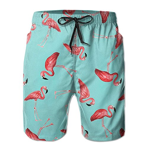 Doormat bag Mens Beach Shorts Flamingos in Blue Swim Trunks Board Cargo Summer Shorts Quick-Drying X-Large