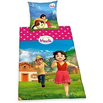Herding 4402054050 Parure de Lit pour Enfants avec Imprimé Heidi 3D en Coton Multicolore 135 x 200 cm