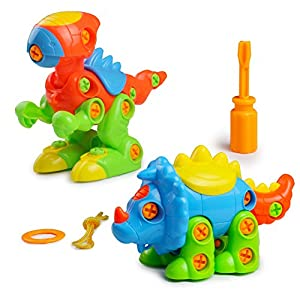 Assemble and Disassemble Dinosaurs DIY Take-apart Pull Along Toys 2 Sets for Kids over 3 Years Old, 65 Pcs