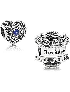 Original Pandora Geschenkset - 1 Silber Charm 791289 Happy Birthday + 1 Silber Charm 791784SSA September-Herz