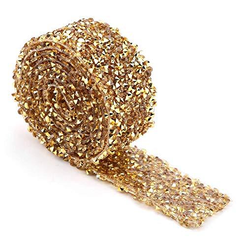Strass Band Wrap Diamant Mesh Wrap Roll Sparkle Crystal Dekorationen für Hochzeit Geburtstag Geschenkpapier, 1 Yard 3 cm breit 91 cm lang(Gold)