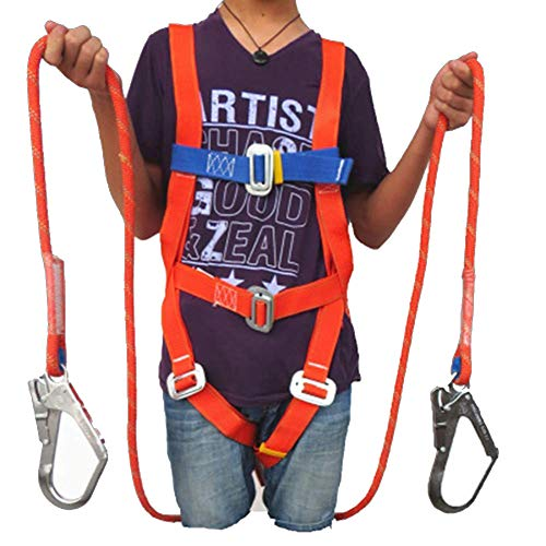 MFZTQ Kit Anticaduta, 4 Punti Di Sicurezza Anticaduta Imbracatura Con Corda Tampone