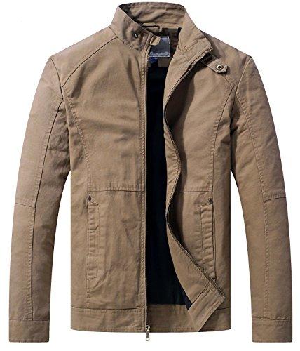Wenven Herren Übergangsjacke Casual leichte Full Zip Military Jacke Khaki Large