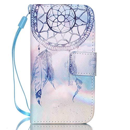 Felfy Kompatibel mit Hülle iPhone 4 / 4S Handyhülle Ultra Slim Flip PU Leder Etui Ledertasche Schutzhülle Case ablösbar Handy Lanyard Blauer Traumfänger Design Brieftasche,EINWEG Verpackung