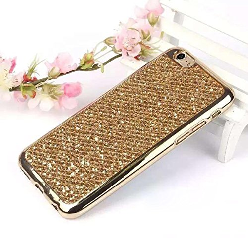 iPhone 7 Plus Hülle,Bling Bling Case für iPhone 7 Plus,Ekakashop Kreative Gold Glänzend Diamant Strass Glitzer Funkeln Sternen Star Soft Silikon Hybrid Back Case Flexible Gel Cover Defender Protective Gold Glänzend