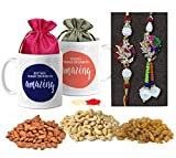 #3: Tied Ribbons Rajasthani Lumba Rakhi with Hamper for Bhai Bhabhi Designer Lumba Rakhi with Printed Coffee Mugs and Dry Fruits(Almonds,Raisins,Cashew), Roli Chawal