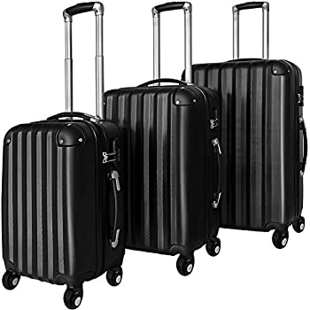 Suitcase Luggage Set of 3 Durable Hardcase with Wheels Black Travel Bags 89 68 36 Litres