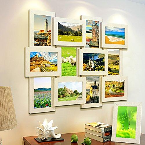 MVPOWER Bilderrahmen Collage für 12 Fotos 10x15 cm + 1x Einzelfotorahmen 13x18 cm, 13er Frame Set für Hausdeko (13er Set Weiß)