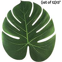 Hoja Artificial,niceEshop(TM) 12Pcs Hojas Artificiales en Tela de Boda,Fiesta, Aniversario y Cena (Verde,13 Pulgadas)