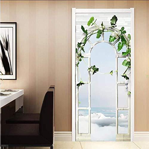 dongggmt Wohnkultur Tür Aufkleber Europäischen Stil 3D Stereo Palace Arch Garten Tapete Wohnzimmer Hochzeit Haus Wandaufkleber DIY Murals 77X200 cm