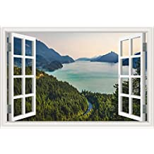 "3D Window PVC Decal Wall Sticker Large Nature Poster View of Hillside Beautiful Sea Green Mountain Scenery New Wallpapers Vinyl Decal Wall Art Bedroom Decor 32""X48"""