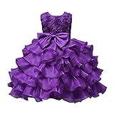 ❤️Kobay Kinder Baby Mädchen Blumen Geburtstag Hochzeit Brautjungfer-Festzug Prinzessin Abendkleid (150/9-10Jahr, Lila)