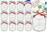 MamboCat Set Vasetti in Vetro, 350ML To 82Coperchio Bianco con Fiocco Parete incl. Diamante gelier zauber ricettario marmellata conserva