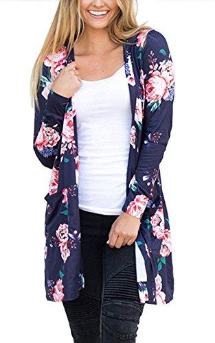 HIMONE Damen Casual Kimono Cardigans Blumen Druck Langarm Outwear Dunkelblau,S (Floral Manschette Jean)