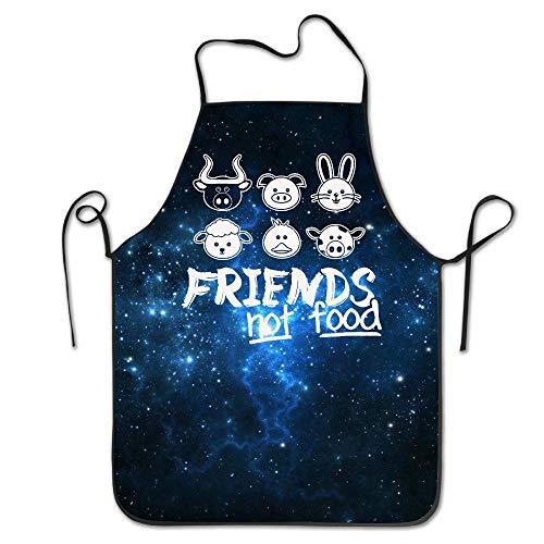 HTETRERW Funny Apron Chef Kitchen Cooking Apron Bib Friends Not Food Vegan Restaurant Durable
