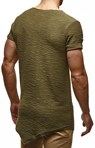 LEIF NELSON Herren oversize T-Shirt Hoodie Hoody LN6354 Khaki