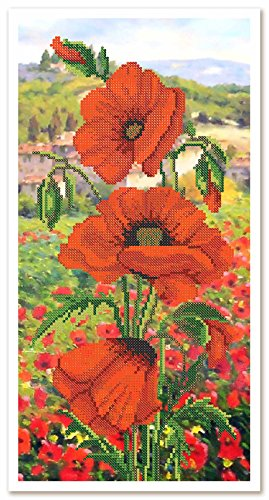 Stickbild mit Perlen komplette Stickpackung Mohnfeld 19x38 Stickset Stickerei Set Handarbeit Stickvorlage vorgedruckt vorgezeichnet Bild zum selber sticken