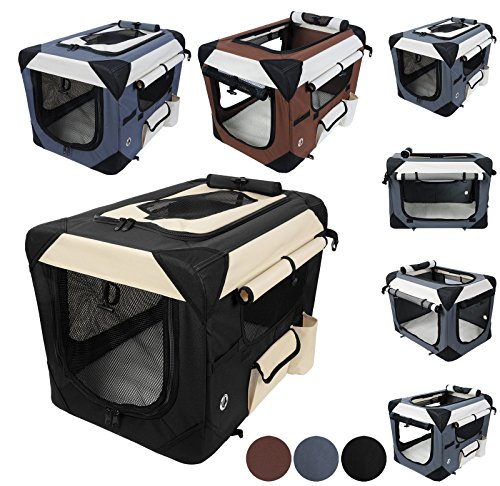 WOLTU HT2059sz1 Hundebox Hundetransportbox Auto Transportbox Reisebox Katzenbox Autobox Box mit Hundedecke S Schwarz