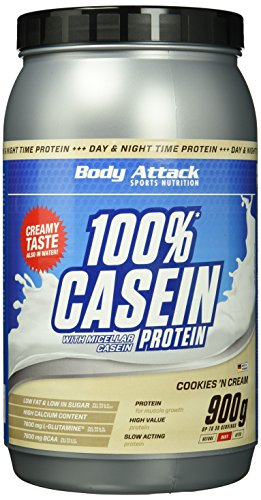 Body Attack 100{65e01565851646a6cd530954e14b18059805f6078ad233a73b33a31b7c7c4dc4} Casein Protein Cookies & Cream, 1er Pack (1 x 900 g)