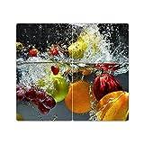 Herdabdeckplatten aus Glas m. Noppen von DekoGlas 2er-Set Herdabdeckung Schneidebrett Spritzschutz Gemüse