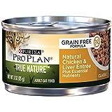 Purina Pro Plan Alimentos para gatos mojados, verdadera naturaleza, sin grano, pollo y hígado, latón de 91,4 g, paquete de 24