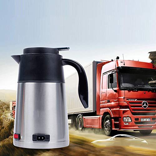 JAY-LONG Auto Wasserkocher, 1200ML Edelstahl Isolierung Wasserkocher, Automatischer Schalter, Reise Wasser Heizung Tasse, Geeignet FüR Auto LKW,24V -