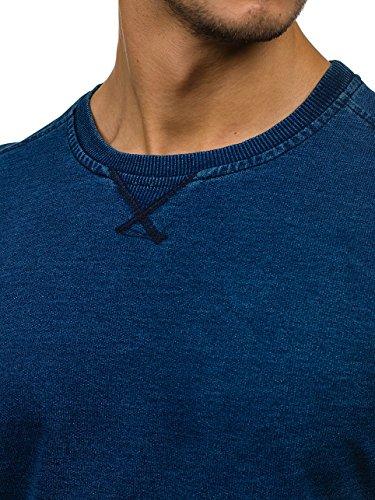 BOLF Herren Pullover Sweatshirts Langarmshirt Rundhals MIX Basic Blau_2701