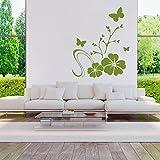 malango® Wandtattoo Blumenranke Blumen Pflanzen Blüten Ranke Wanddekoration Tattoo Pflanzenwelt Blumenwelt Dekoration ca. 65 x 80 cm dunkelrot