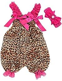 Topgrowth Pagliaccetto Bimba Neonata Tuta Bodysuit Stampa Leopardato Jumpsuit Romper+ Fascia per Capelli Bambina 2Pcs Outfits
