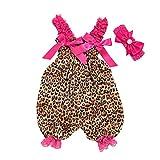 Vovotrade Barboteuse Jumpsuit Combinaison à Bretelles léopard Ensemble Deux pièces à lanière Tout-Petit Bébé Garçon Filles Combinaison à imprimé + Serre-tête Printemps été vêtements 3mois-12mois
