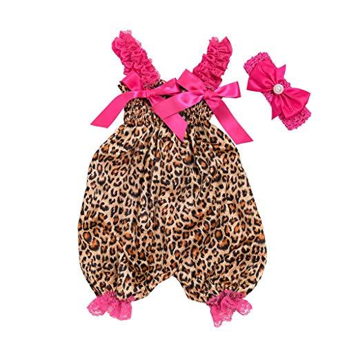 Robemon❤️Toddler Bébé Unisex Garçons Filles Imprimé léopard Salopettes et Combinaisons Jumpsuit+Bandeau Ensembles de Fille Outfit