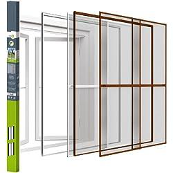 Easy Life - Doble ventana corredera de aluminio 230 x 240 cm - marrón - con aros de fijación