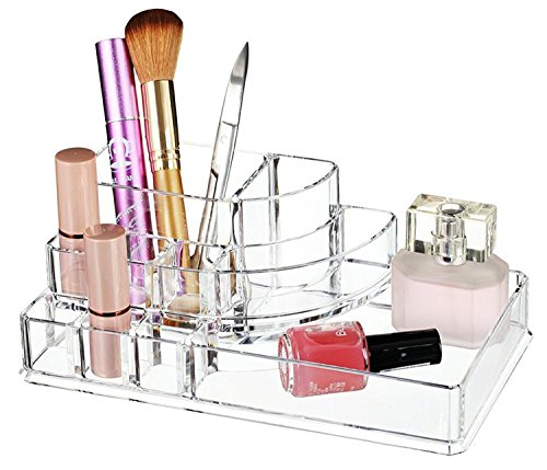 Impression 1X La Grande Taille Boîtier Multifonctions Trousses à Maquillage Boîte Trapèze oblique Style de Beauty case Boîte de rangement Présentoir Cosmétiques Maquillage Sac Couleur-Transparent