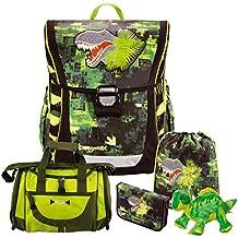 19e42356b9711 Green Dino - Dinosaurier - Baggymax FABBY Leicht-Schulranzen Set 5tlg. Hama  mit SCHULSPORTTASCHE