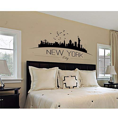 Große Nyc New York City Skyline Wandtattoos Stadt Skyline Silhouette Wandaufkleber Home Schlafzimmer Dekoration 42 * 86 Cm ()